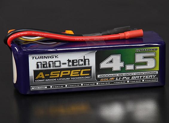 Turnigy нано-технологий A-SPEC 4500mAh 6S 65 ~ 130C Липо пакет