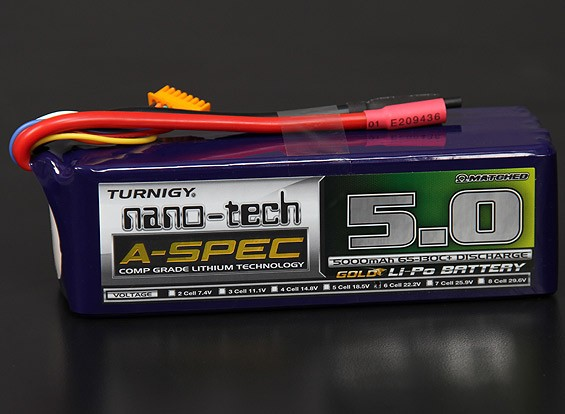 Turnigy нано-технологий A-SPEC 5000mAh 6S 65 ~ 130C Липо пакет