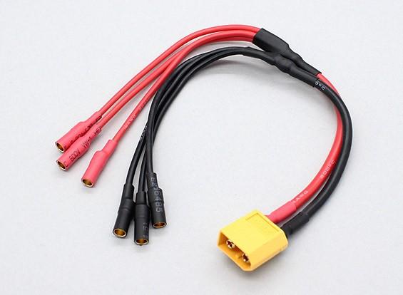 XT60 до 3 х 3,5 мм пуля Multistar ESC многожильного кабеля питания