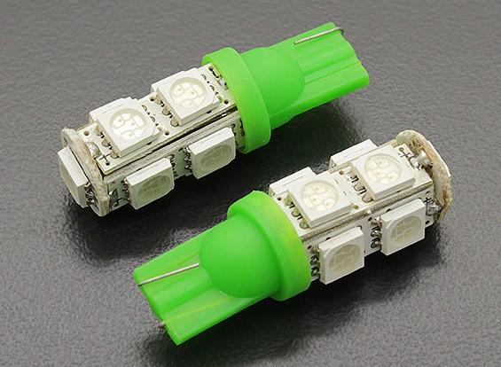 Мозоли СИД Свет 12V 1.8W (9 LED) - зеленый (2 шт)