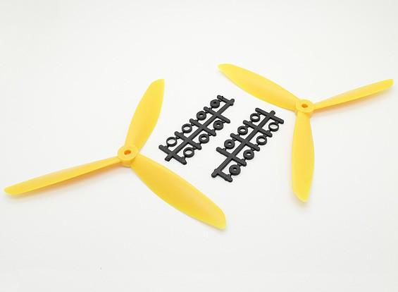 Hobbyking ™ 3-лопастной пропеллер 8x4.5 Желтый (CW / CCW) (2 шт)