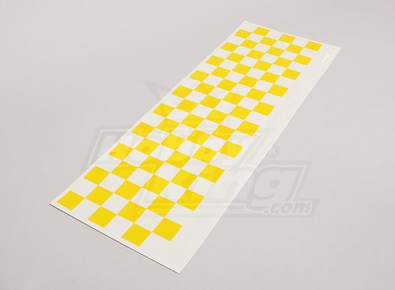 Декаль лист Chequer шаблон желтый / Clear 590mmx180mm