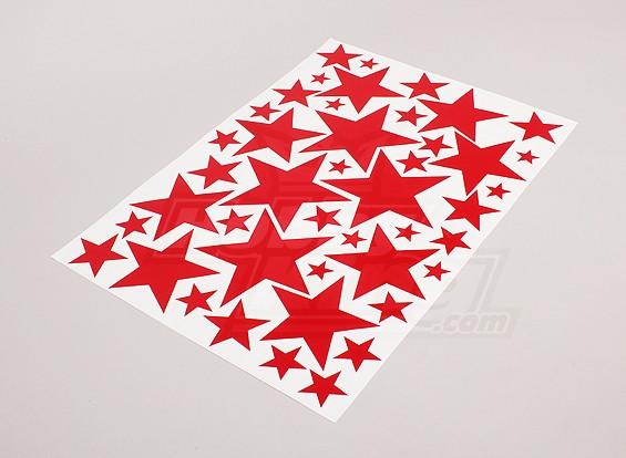 Звезда Красный Различные размеры Декаль лист 425mmx300mm