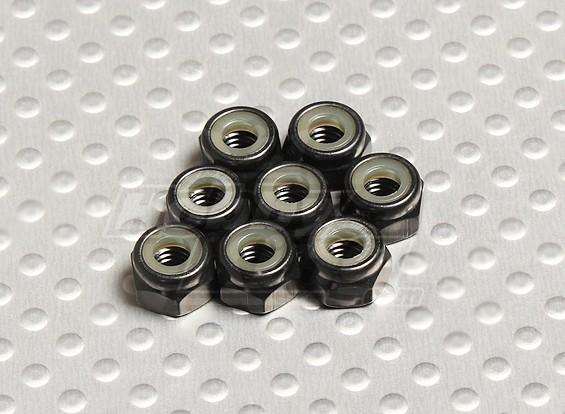 Черный анодированный алюминий M4 самоконтрящейся Гайки (8шт)
