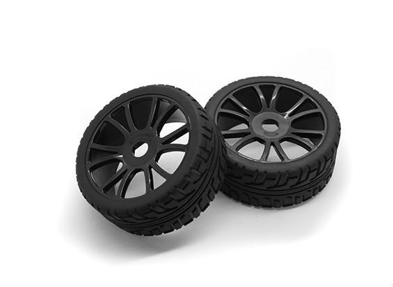 Hobbyking 1/8 Шкала 17мм RX Ралли Y-Spoke колеса / шины Hex (черный)