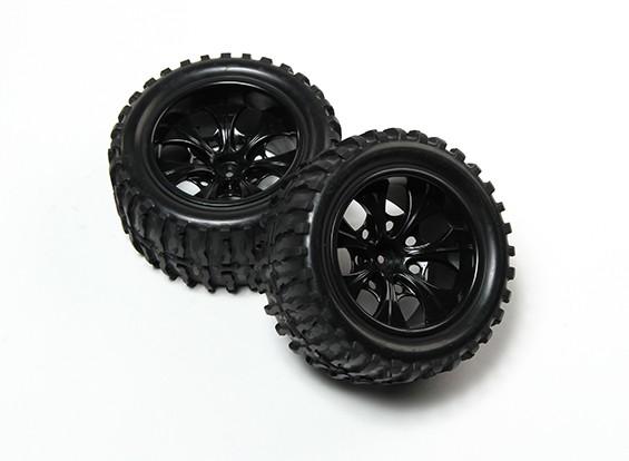 HobbyKing® 1/10 Monster Truck 7-спицевые колеса Black & Wave 12мм шаблон шин Hex (2pc)