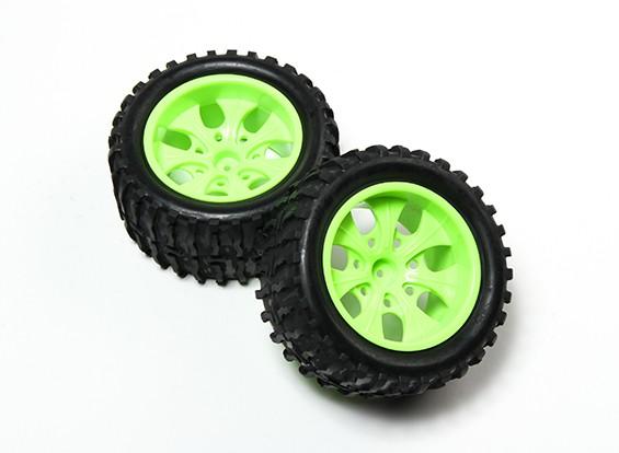 HobbyKing® 1/10 Monster Truck 7-спицевые колеса флуоресцентный зеленый и волна шаблон шин (2pc)
