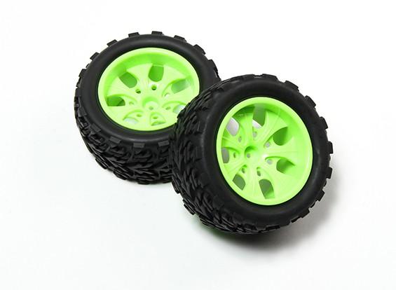 HobbyKing® 1/10 Monster Truck 7-спицевые колеса флуоресцентный зеленый и дерево шаблонов шин (2pc)