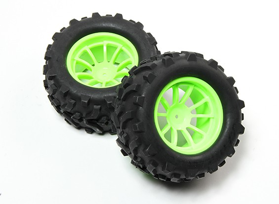 HobbyKing® 1/10 Monster Truck 10-спицевые колеса флуоресцентный зеленый и Стрелка Pattern шин (2pc)