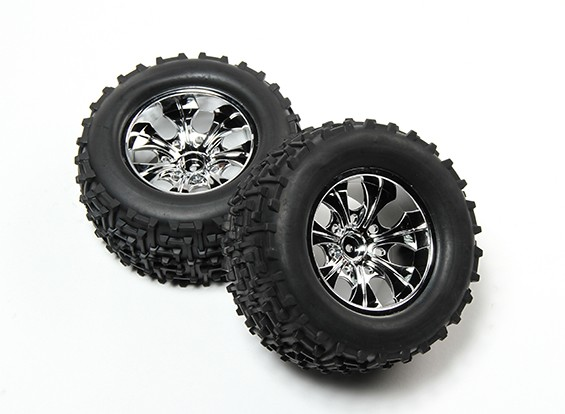 HobbyKing® 1/10 Monster Truck 7-спицевые колеса Chrome & I-Pattern шин 12мм Hex (2pc)