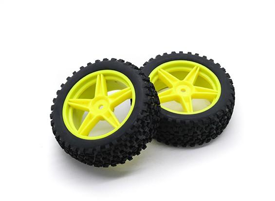 HobbyKing 1/10 Малый блок 5-спицевые (желтый) Колесо / 12мм шин Hex (2 шт / мешок)