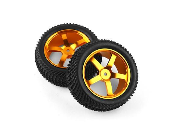 Hobbyking 1/10 Алюминий 5-спицевые фронт (золото) колеса / Wave шин 12мм Hex (2pcs / мешок)