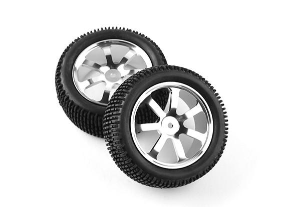 Hobbyking 1/10 Алюминий 7-спицевые фронт (серебро) колеса / Small Block 12мм шин Hex (2 шт / мешок)