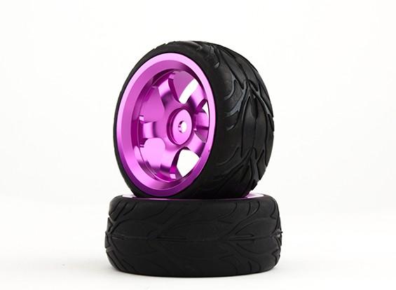 Hobbyking 1/10 Алюминий 5-спицевые колеса 12мм Hex (фиолетовый) / Огонь 26мм шин (2 шт / мешок)