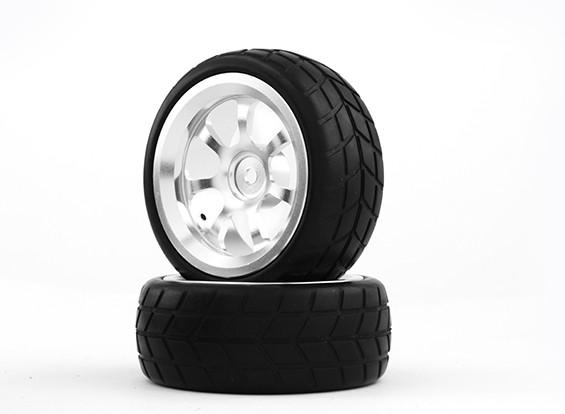 HobbyKing 1/10 алюминиевый 7-спицевые 12mm Hex Wheel (серебро) / 26мм шин VTC (2 шт / мешок)