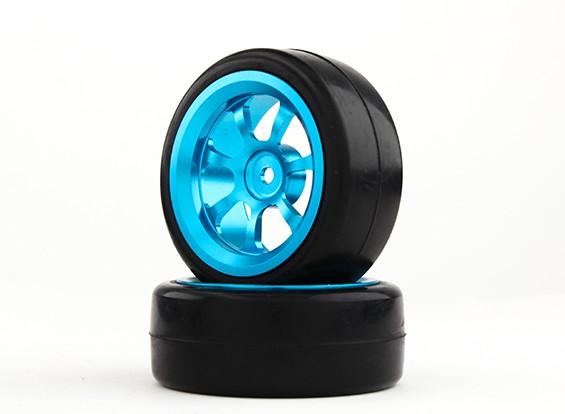 HobbyKing 1/10 алюминиевый 7-спицевые 12mm Hex Wheel (синий) / Slick 26мм шин (2 шт / мешок)