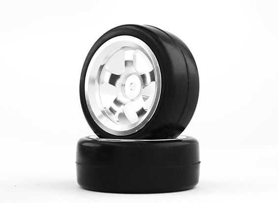 HobbyKing 1/10 Алюминий 5-спицевые 12mm Hex Wheel (серебро) / Slick 26мм шин (2 шт / мешок)