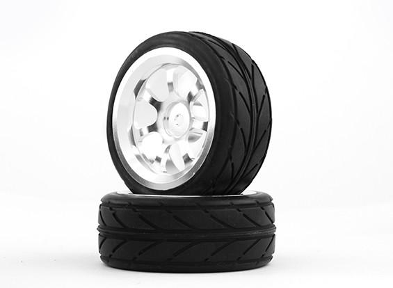 Hobbyking 1/10 Алюминий 7-спицевые 12mm Hex Wheel (серебро) / 26мм шин VV (2 шт / мешок)