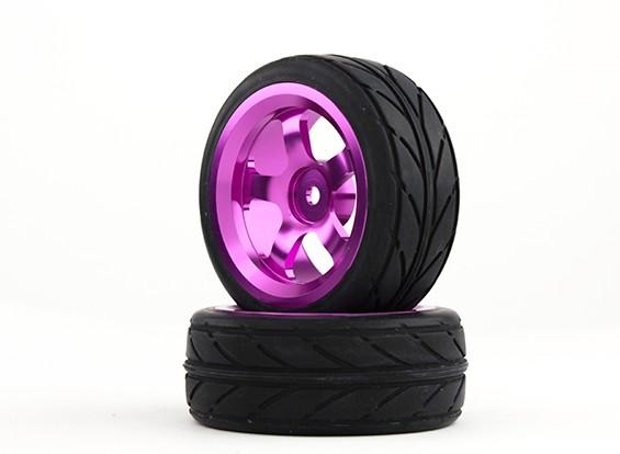 Hobbyking 1/10 Алюминий 5-спицевые колеса 12мм Hex (фиолетовый) / В.В. 26мм шин (2 шт / мешок)