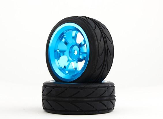 Hobbyking 1/10 алюминиевый 7-спицевые колеса 12мм Hex (синий) / В.В. 26мм шин (2 шт / мешок)