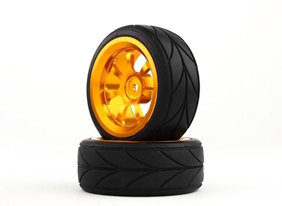 Hobbyking 1/10 Алюминий 7-спицевые 12mm Hex Wheel (Gold) / 26мм шин V (2 шт / мешок)