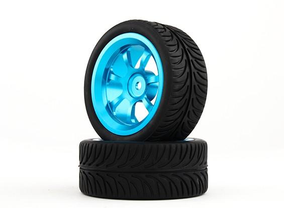 Hobbyking 1/10 алюминиевый 7-спицевые колеса 12мм Hex (синий) / YY 26мм шин (2 шт / мешок)