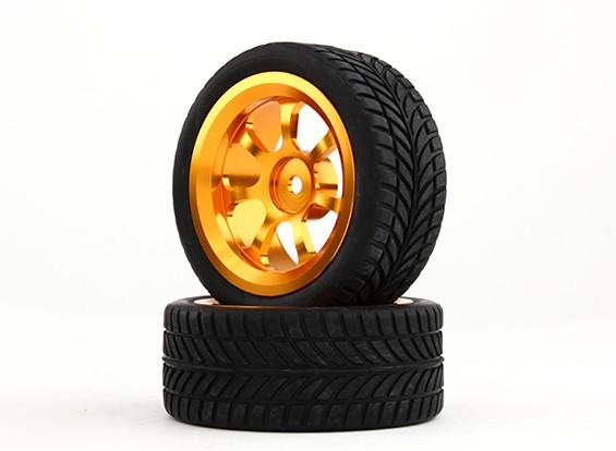 Hobbyking 1/10 Алюминий 7-спицевые 12mm Hex Wheel (Gold) / 26мм шин IVI (2 шт / мешок)