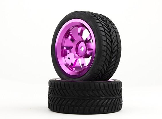 HobbyKing 1/10 алюминиевый 7-спицевые 12mm Hex Wheel (фиолетовый) / IVI 26мм шин (2 шт / мешок)