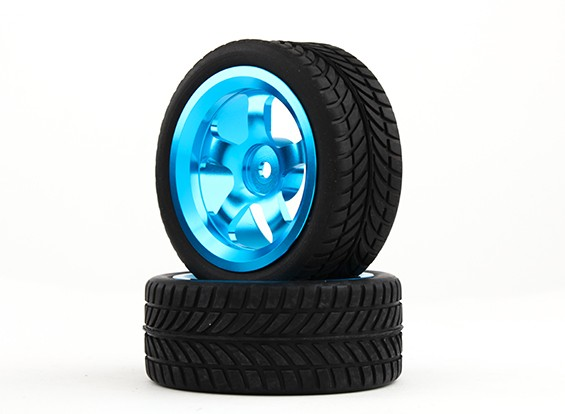 HobbyKing 1/10 Алюминий 5-спицевые колеса 12 мм Hex (синий) / IVI 26мм шин (2 шт / мешок)