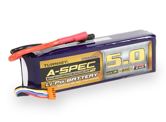 Turnigy нано-технологий A-SPEC G2 5000mAh 4S 65 ~ 130C Липо пакет