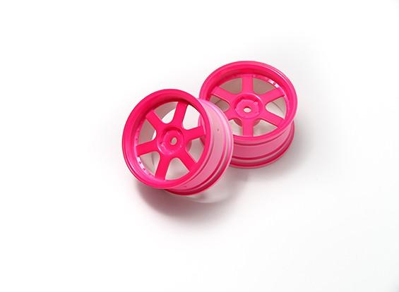 1:10 Ралли колеса 6-спицевые неоновый розовый (3 мм Смещение)
