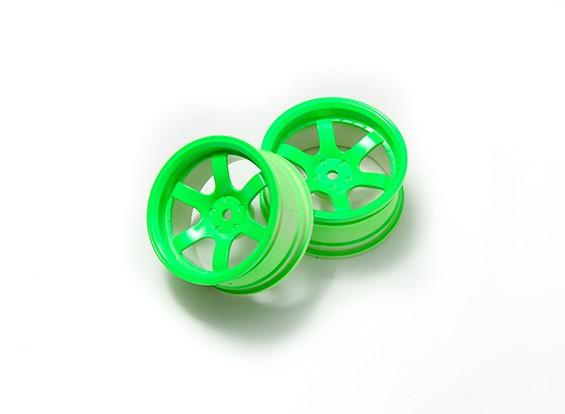 1:10 Rally Wheel 6-спицевые Неон зеленый (6 мм Смещение)