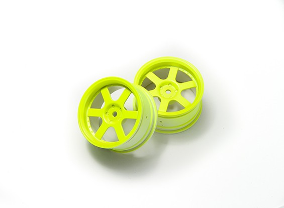 1:10 Ралли колеса 6-спицевые Fluorescent Желтый (3 мм Смещение)
