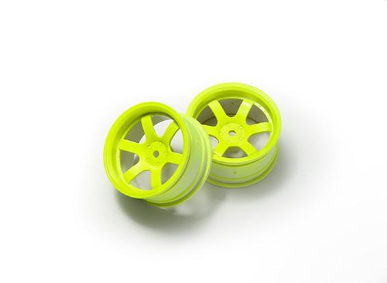 1:10 Ралли колеса 6-спицевые Fluorescent Желтый (6 мм Смещение)