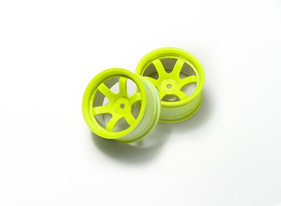 1:10 Ралли колеса 6-спицевые Fluorescent Желтый (9 мм Смещение)