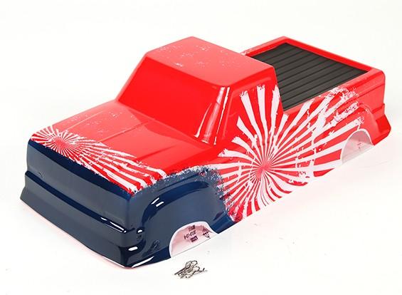 Окрашенный каркас кузова с деколи - Реактивные клоуны Башер 1/8 Scale Monster Truck
