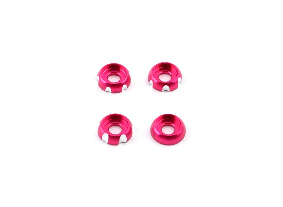 Алюминий 3 мм CNC Раундхед Шайба - Pink (4шт)