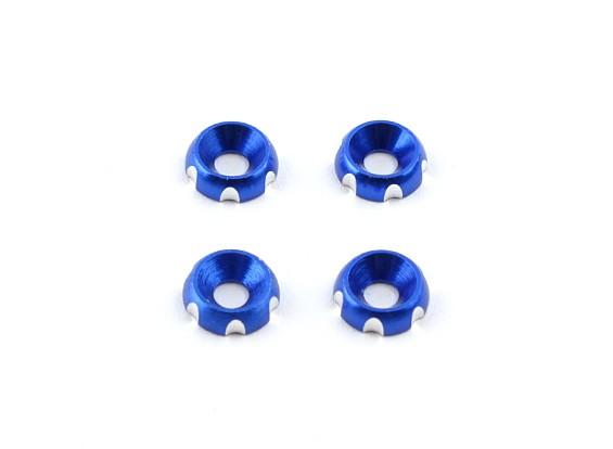 Алюминий 3 мм CNC потайной Шайба - Deep Blue (4 шт)