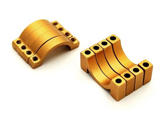 Золото анодированный алюминий CNC 4,5мм Труба Зажим 16мм Диаметр (набор из 4)