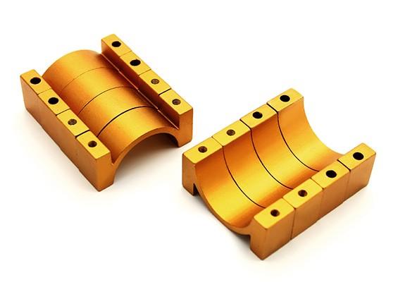 Золото анодированный CNC Алюминиевая пробка Зажим 22мм Диаметр (набор из 4)