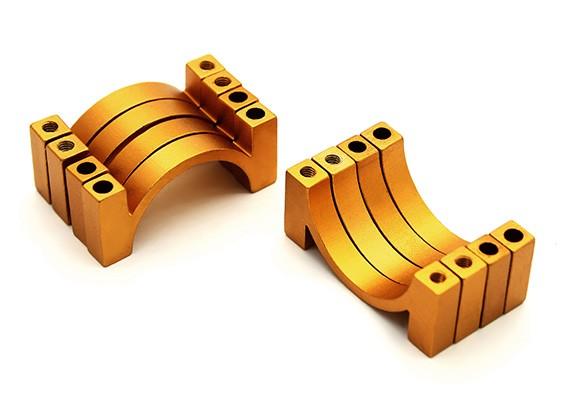 Золото анодированный алюминий CNC 4,5мм Труба Зажим 22мм Диаметр (набор из 4)