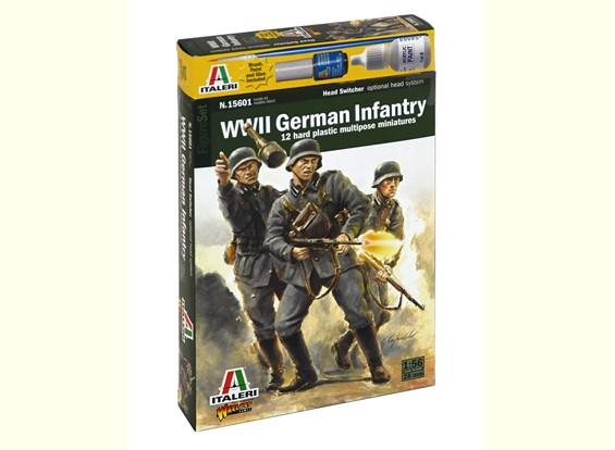 Italeri 1/56 Scale Немецкая пехота 1943 - 1945 (12pc) Военный Рис Kit