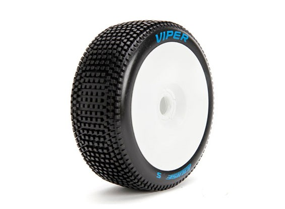 ЛУИЗА B-VIPER 1/8 Scale Багги Шины Soft Compound / White Rim / Mounted