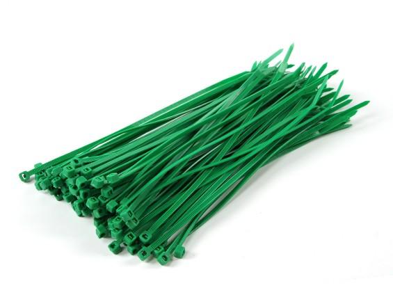 Кабельные стяжки 200 мм х 4 мм зеленый (100шт)