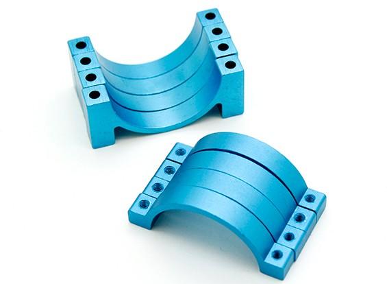 Синий анодированный CNC полукруг сплава пробки Зажим (incl.screws) 28мм