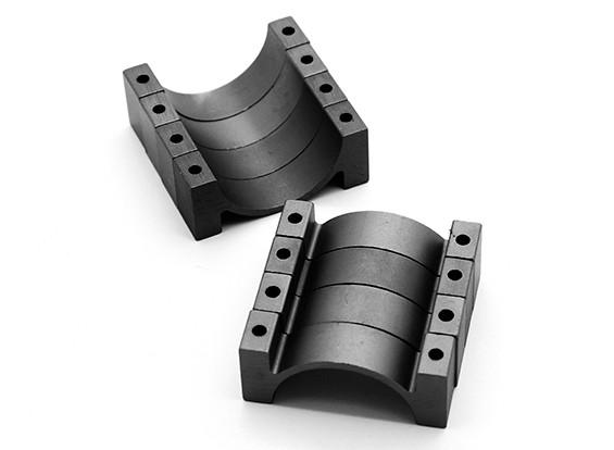 Черный анодированный CNC полукруг сплава пробки Зажим (incl.screws) 22мм