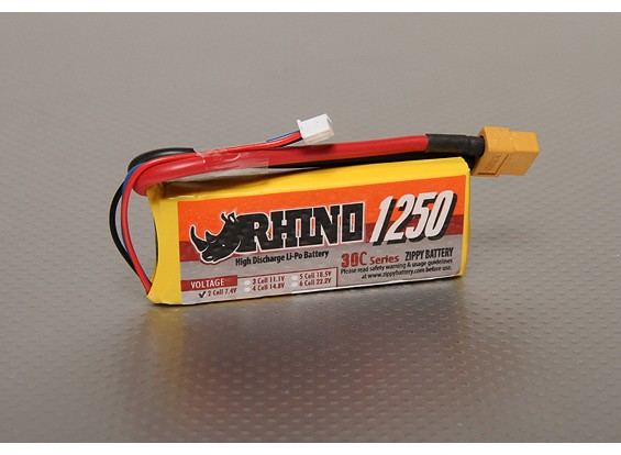 Rhino 1250mAh 2S 7.4V 30C LiPoly пакет