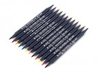 Dual Brush Tip Marker Pen Set (12 colors)