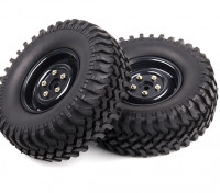 1/10 Scale Rock Crawler 1.9 Wheels With Soft Compound Off-road Tyres (Black Rims) (2pc)