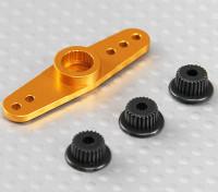 Универсальный алюминиевый Двухсторонний Servo Arm - JR, Futaba & HITEC (Золотой)